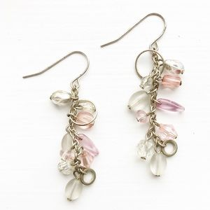 Vintage silver & blush pink bead drop earrings